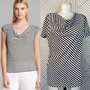 MaxMara Linen-Cotton Jersey Striped Cowlneck Tee